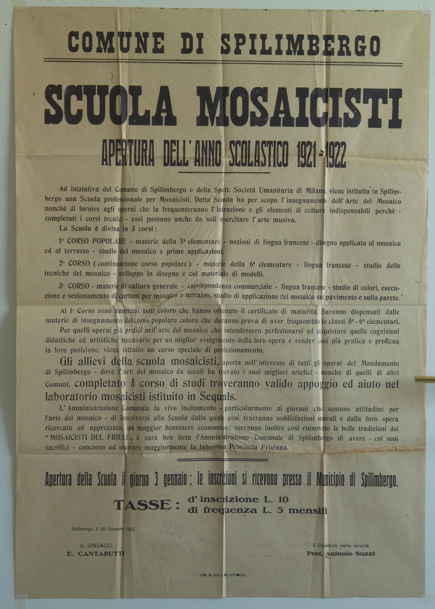 Manifesto di presentazione della Scuola 1921
